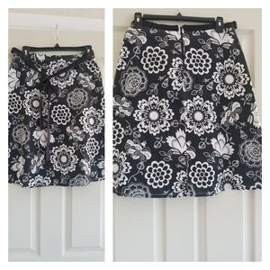 Black and white cotton floral skirt
